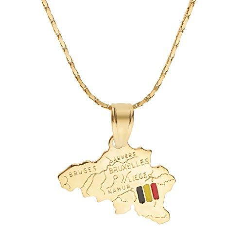 Colcolo Collar con Colgante de Continente de Mapa Chapado en Oro de 18 Quilates Día Nacional - Forma Mapa de Bélgica