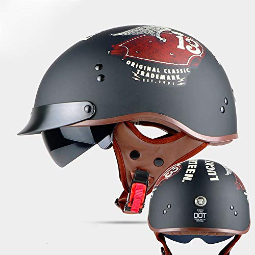 DOT Certification Retro Motorcycle Helmet,Moto Helmet Scooter Vintage Half Face Biker Motorbike Crash Helmet with Inner Visor Jet Capacete for Men and Women,XL59~61
