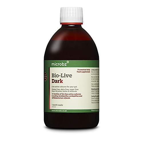Microbz Bio-Live Dark (475ml) Bio Cultures Probiotic Liquid Supplement - Multi Strain Fermented Liquid Formula with Bio Live Active Natural Cultures for Everyday Oral Use (Single Bottle)
