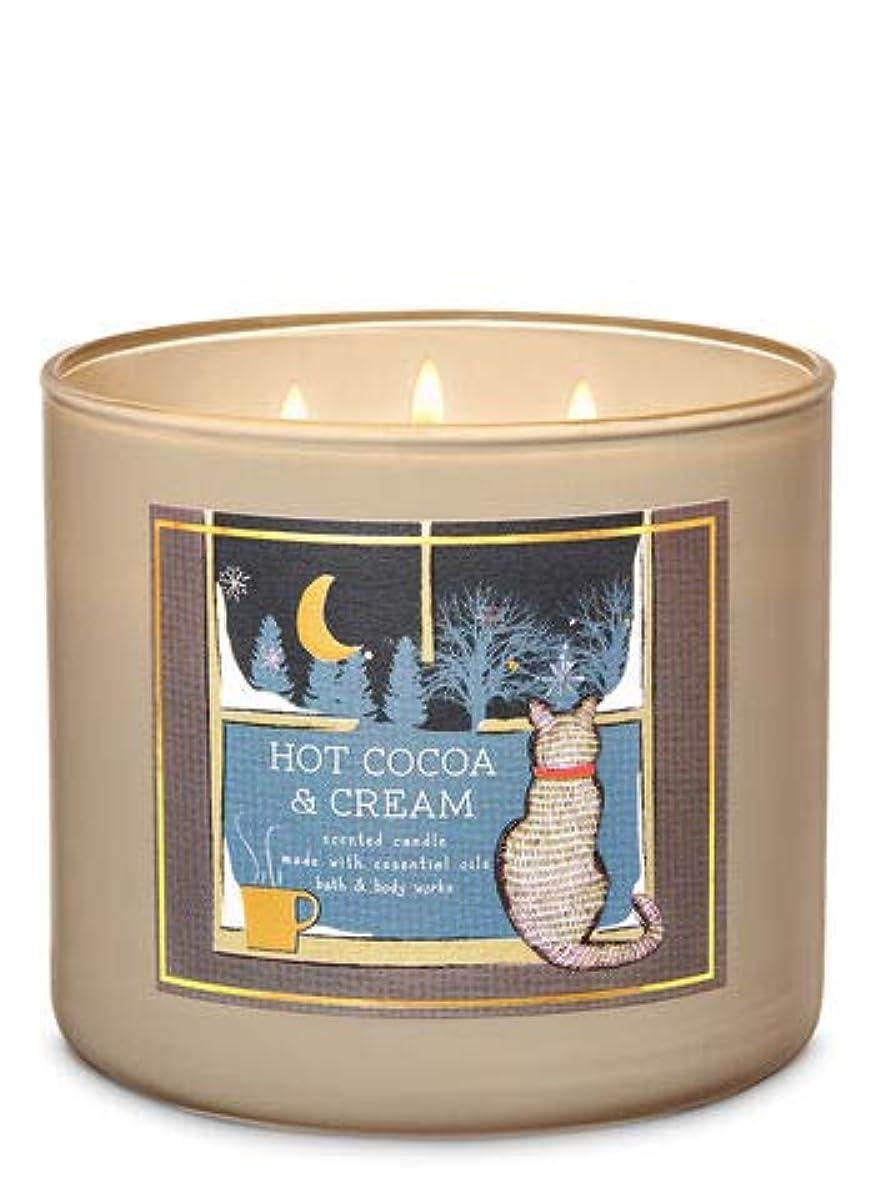 廃止激しいハリウッド【Bath&Body Works/バス&ボディワークス】 アロマ キャンドル ホットココア&クリーム 3-Wick Scented Candle Hot Cocoa & Cream 14.5oz/411g [並行輸入品]