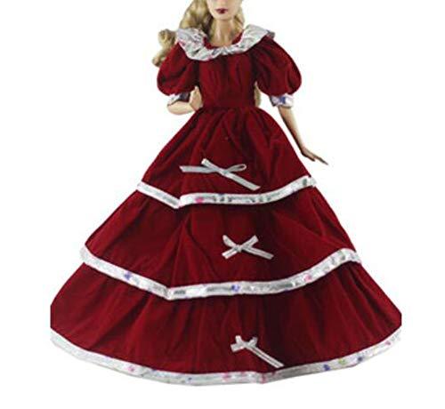 Maya Star Idea de regalo de disfraz de niña Noble Queen Princess Vestir Chrismas Fiesta Falda Vestido de noche para muñecas de 11.8 pulgadas (rojo)