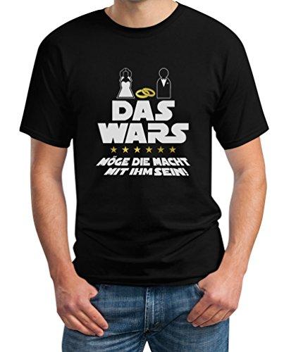 Junggesellenabschied T-Shirt JGA Bachelor Party Outfit - Das Wars Möge Die Macht Mit Ihm Sein T-Shirt Large Schwarz