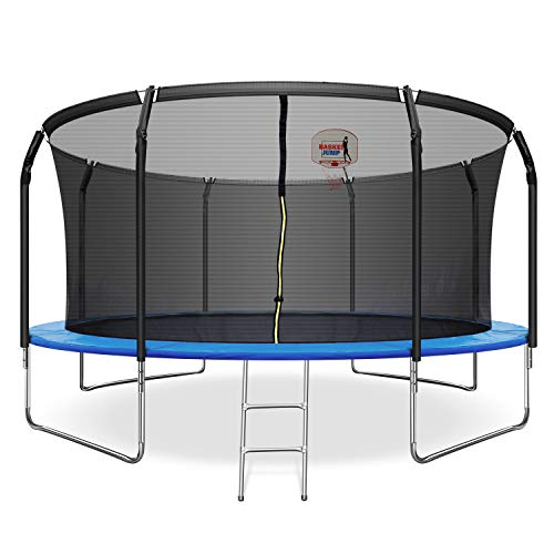 FYU 14FT Trampoline Weight Capacity 760 LBS for Kids Adults with Basketball Hoop, Safety Enclosure Net, Jumping Mat, Safety Pad, Outdoor Trampoline