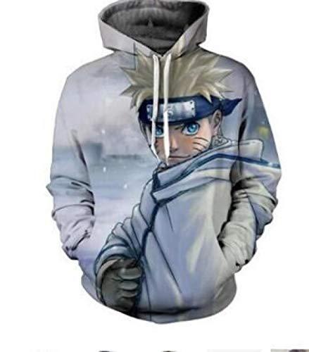 TSHIMEN Herren Klamotten Naruto 2019 heißes Blut japanische Anime Trend 3D Digitaldruck Pullover Hoodie Jacke Paar Shirt lässig Langarm-L Half-Length Naruto