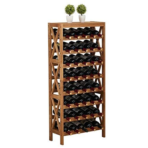 Großes stapelbares Weinregal Freistehende Holzregal-Standhalter-Displayregale wackelfrei Massivholz 8-stufig 40 Flaschen Kapazität