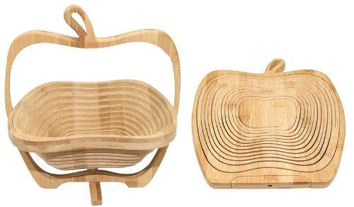 Budawi® - Obstkorb ''Apfel'', zusammenklappbar, Bambus-Obstkorb 30 x 26 cm
