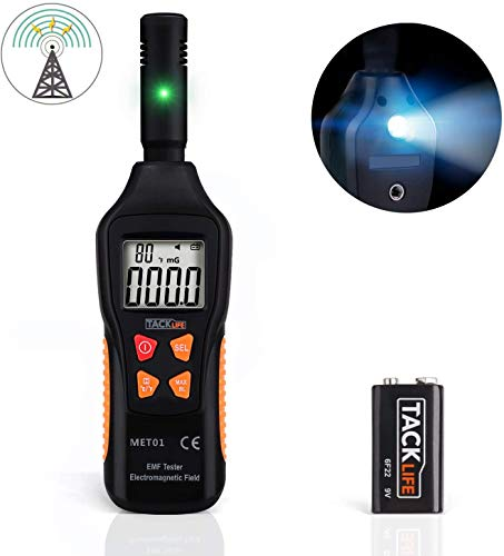 TACKLIFE EMF Meter, Strahlungsdetektor für Messung der elektrischen Feldstärke / elektromagnetischen Feldstärke / Temperatur, mit LCD und Taschenlampe, geeignet für den Heimgebrauch - MET01