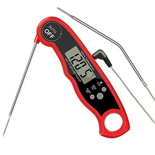 HOSPAOP Termometro digitale per carne con 2 sonde in acciaio inox e filo lungo, 2 secondi di lettura istantanea, magnete per cucina, barbecue, forno, bistecche, affumicatore, olio temperatura