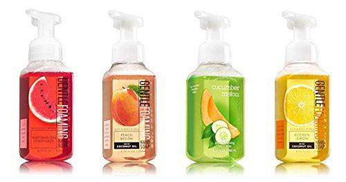 Bath and Body Works Summer Collection 4 Pack --- Watermelon Lemonade + Peach Bellini + Cucumber Melon + Kitchen Lemon Foaming Hand Soaps