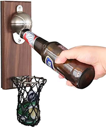 Abrebotellas de baloncesto magnético, abridor de botellas de madera montado en la pared con recogedor de tapas, abridor de cerveza novedoso para uso como decoración del hogar cocina restaurante bar