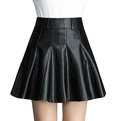 Flygo Women's Casual High Waist PU Faux Leather Flared A-Line Pleated Mini Skirts