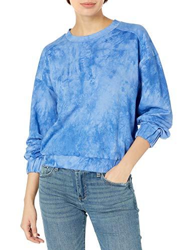 KENDALL + KYLIE Women's Elastic Waist Sweatshirt, Indigo, Medium