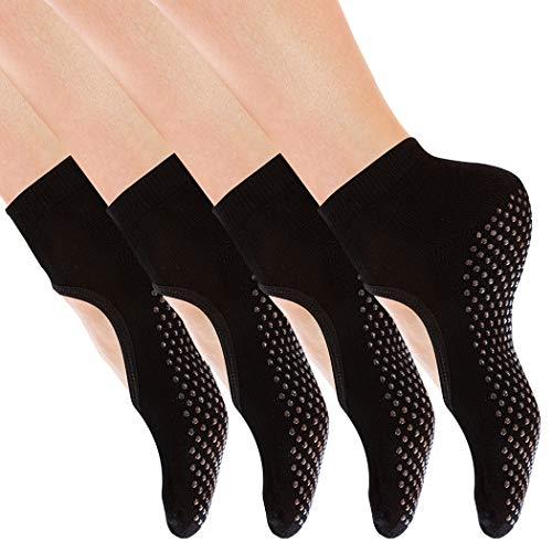 Yoga Socks Non Slip Skid with Grips Barre Socks Pilates Socks for Women Girls 4 Pack by Cooque (Black-backless-4 Pack) from