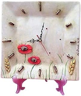 Le Ceramiche Del Re, Orologio Ceramica da Parete, Orologio Decorativo,Orologio Particolare con Papaveri