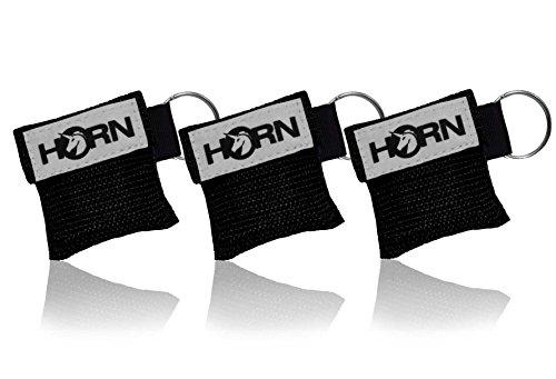 Horn Medical Notfall-Beatmungstücher im Schlüsselanhänger, Horn-Key, 3er Set, Schwarz