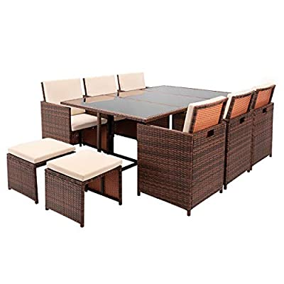 VICTONE 11 Pieces Patio Dining Sets Outdoor Space Saving Rattan Patio Furniture Sets with Ottoman and Cushions (Brown)