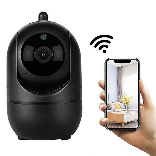 FTSUI IP-camera, zwart 1080p wifi, draadloze intelligente automatische registratie van de binnenveiligheid, 2-weg audio-nachtzicht-byphone/huisdiercamera