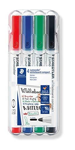 Staedtler Lumocolor 341 WP4 Whiteboard-Marker, compact, trocken und rückstandsfrei abwischbar von Whiteboards, Universalspitze ca. 1-2 mm Linienbreite, hohe Qualität, Set mit 4 Farben