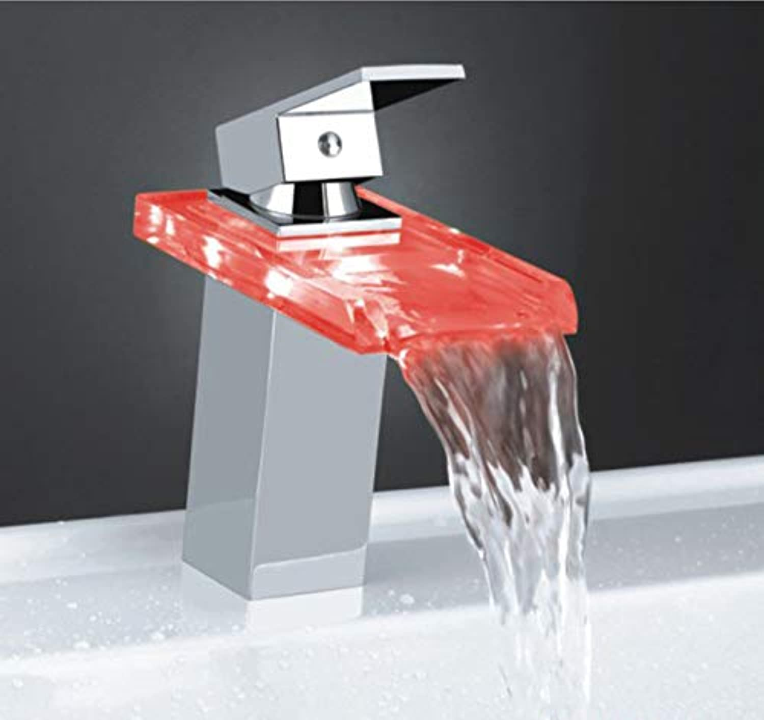 ROKTONG Taps Taps Taps colorful Led Faucet Waterfall Temperature Induction color Faucet Above Counter Basin Faucet