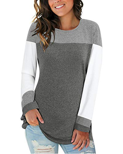 II ININ Women Long Sleeve Patchwork Color Block Round Neck Basic Tunic Casual Blouse Tops T Shirt(Gray/White/Dark Gray/Large)