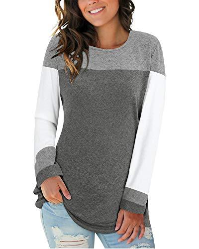 II ININ Women Long Sleeve Patchwork Color Block Round Neck Basic Tunic Casual Blouse Tops T Shirt(Gray/White/Dark Gray/Medium)