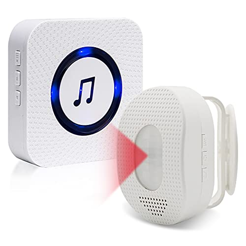 Wireless Motion Sensor and Pager Sanjie Door Bed Alarms and Fall Prevention Alert for Elderly Adults (1 Plug in Motion Detector +1 Plug in Receiver)