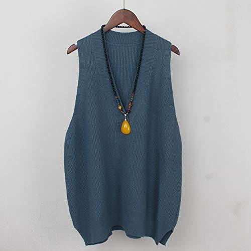 ZMSDSD Dicke Lose Beiläufige Frauen Pullover Weste Herbst Winter Grob Gestrickte V-Ausschnitt Outwear Pullover Große Größe Weibliche Pullover Top-Blue XY1512