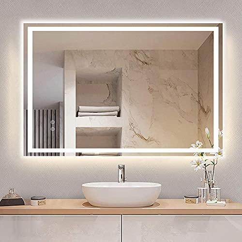 Depuley Badspiegel mit Beleuchtung 90x70cm, Wandspiegel mit Touchschalter, Beschlagfrei, IP44 energiesparend, LED Spiegel Badzimmerspiegel mit 3 Lichtfarbe Dimmbar Warmweiß/Kaltweiß/Neutral