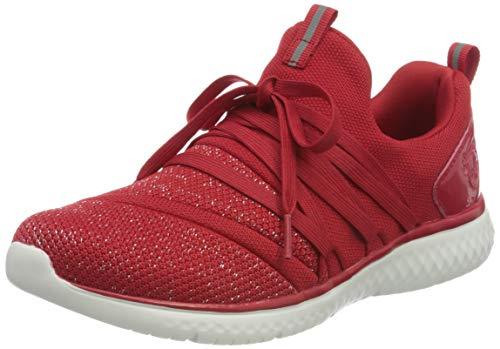 Rieker Damen N9468 Sneaker, Rosso-Silver/Rosso 33, 41 EU