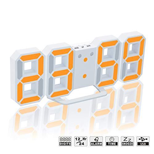 TOPYL 3D Digitalenen Wecker, Elektronische Led Digitalenen Wecker, Leise Uhr Mit Snooze 3 Helligkeit, Moderne Nachtlicht Uhr Bett Schreibtisch-weiß/orange