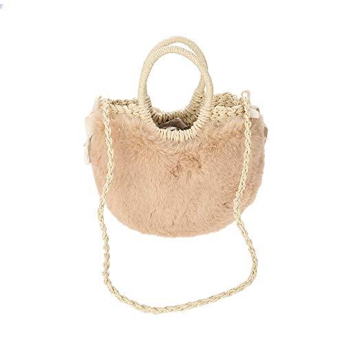 Sac en rotin pour femme Sac en rotin avec sac à main en rotin avec une épaule rétro et une peluche douce (Couleur : Beige)