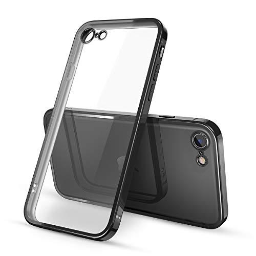 Yokata Cover per iPhone SE 2020, Cover iPhone 7, Cover iPhone 8 Trasparente Silicone TPU Ultra Sottile Slim Antiurto Bumper Protettiva Case Cover per iPhone 7/8/SE 2020 - Nero