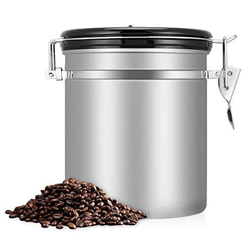 BETTERLE Kaffeedose Edelstahl, Kaffeebehälter Luftdichte Vorratsdose Edelstahldose Vakuum Dose für Kaffeebohnen, Pulver, Tee, Kakao (Silver)
