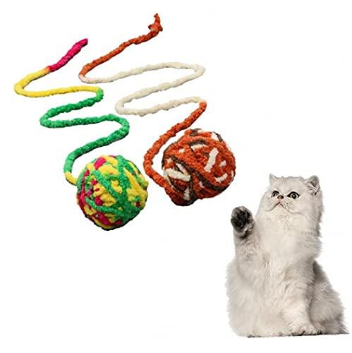 Ruluti Bunte Katze Wollkugelspielzeug Haustiere Interaktive Spielzeugbiss Und Verschleißfest Für Indoor-Katzen-trainingsübung