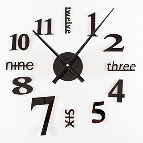 horloge murale CivilWeaEU- Metal Texture Bricolage Européenne Mode De Vie Art Mute Personnalité Horloge Montres Créatives (Couleur : Noir)
