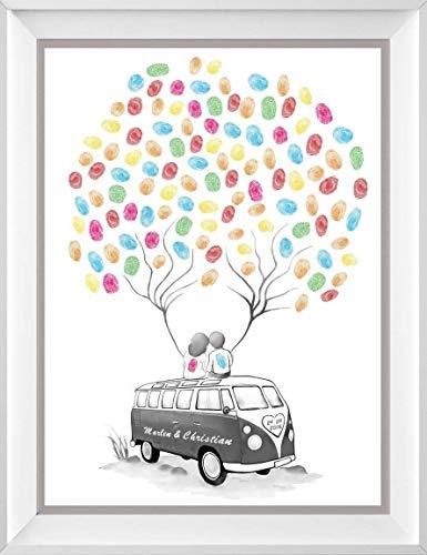 Wedding Tree Bulli personalisiert auf 29,7x42cm Poster, Fingerabdruck Baum Bus, Geschenk zur Hochzeit, Alternative zur Wedding Tree Leinwand