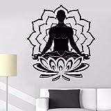 ASFGA Vinyl Wandaufkleber Meditation Lotus Wandtattoo Yoga Buddhistische Wandmalerei Wandbild Home Schlafzimmer Gym Dekoration 42x47cm
