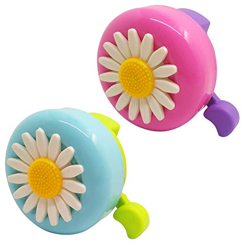 SENHAI 2 campanas de bicicleta para niños, accesorios de campanilla de bicicleta, diseño de flores, anillo de bocina de tono de alerta para niño y niña