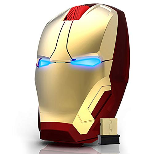Wireless Computer Mouse 2.4G Full Size Optical Gaming Super Hero Iron/Man Mice with Nano USB Receiver,3 Adjustable DPI Levels,Portable Mobile Click Silent Mouse for Notebook, PC, MacBook (Gold)