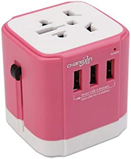 XIMINGJIA-O Power Plug Adapter - International Travel - 3 USB Ports in Over 150 Countries - 110-220 Volt Adapter - (1 Pack) Champagne Gold International Converter, (Color : Pink)