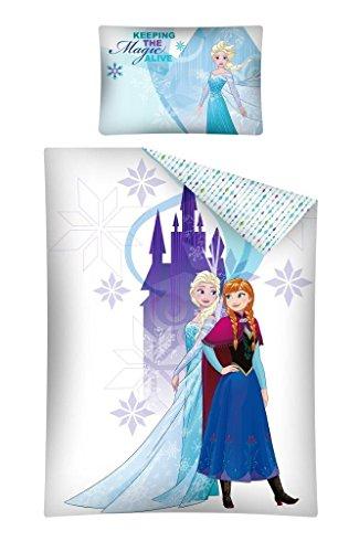 Reine des Neiges - Parure de Lit Bébé 100% Coton Elsa & Anna Housse de Couette 100x135 cm + Taie