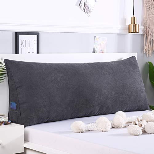 Z IMEI - Cojín de cuña para cabecero de cama (tamaño grande), diseño triangular, gris oscuro, 20x50x100cm(8x20x39inch)