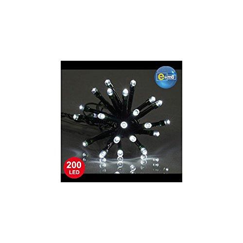 E=M6 5EEX334BC Guirlande 200 LED Fil Vert, Plastique, Blanc