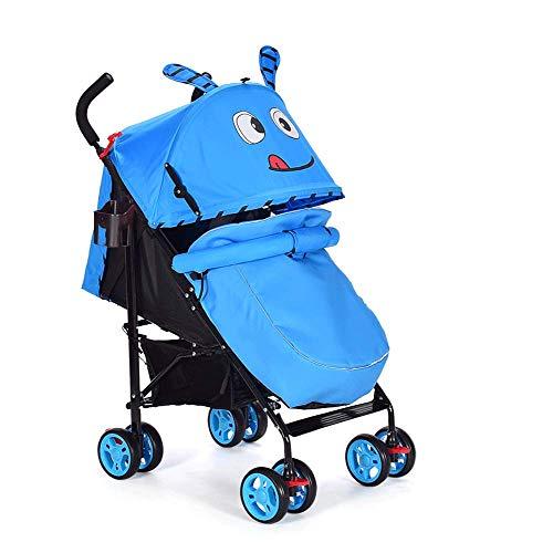 Kids Pram Travel System 3 en 1 / Silla de paseo Cochecito para niños, Manguito de pie Mosquitera, Porta Botella/Toldo ajustable para el sol/Alfombra de verano (Color : Blue warm)