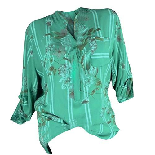 Ouice Damenhemd, langärmlig, Knopf, bedruckt, Schulterfrei, Bandage, Spitze, Chiffon, modisch, lose Tops Gr. M, 146-grün