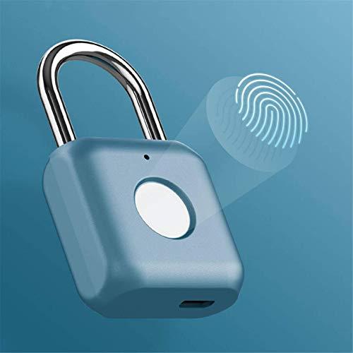 Candado de huella dactilar impermeable con candado de huella dactilar para puerta de armario, puerta, gabinete, maleta (tamaño: 33 x 15 x 58,8 mm; color: azul)