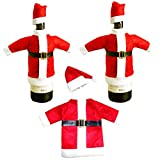 sylbx 3 Pack Weihnachten Flaschen Beutel Party Restaurant Wein Flasche Weihnachten Tasche Flaschenüberzug Weihnachtsmann Hut Flaschebeutel Flaschetasche Geschenk