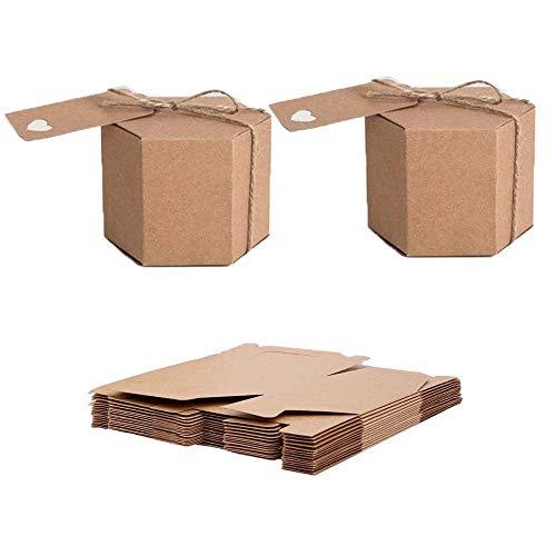 Knowing Kraftpapier Box, 50 Stück Kraftpapier Geschenkbox, Vintage Kraft Geschenkboxen, mit Hanfseil und Tags, für Hochzeit Süßigkeiten Verpackung Geburtstagsfeier Weihnachtsfeier Geschenkboxen