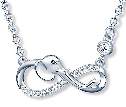 MicLee Women's girl's Necklace pendant, 925 Sterling Silver necklace, Cute elephant and infinity symbol necklace, Unique animal design necklace pendant, Inlaid zircon, shining pendant, silver