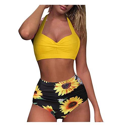 MEITING Hot Sommer Bademode Damen High Waist Neckholder Bikini Oberteil und Badeshorts Push Up Rüschen Bikini Set Zweiteiliger Badeanzug V-Ausschnitt Blumenmuster Hoher Taille Badeanzug Strandwear